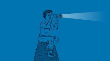 211 Ontario logo. Man sitting on hill looking through bincoluar flashlight.