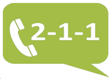211 Talking Bubble Logo with a picture of a phone and the numbers 211