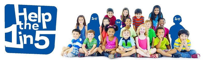 Help the 1 in 5 logo with group of smiling children. Some are silhouettes with 1in5 written on them.