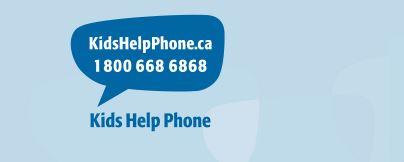 Kids Help Phone Logo. Talking bubble. KidsHelpPhone.ca 1 800 668 6868. Kids Help Phone.