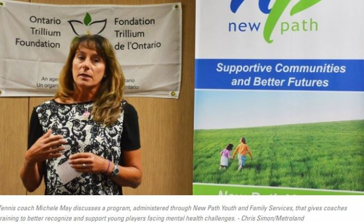 Picture of Tennis coach Michele May discusses a program, administered through New Path Youth and Family Services, that gives coaches training to better recognize and support young players facing mental health challenges. - Chris Simon/Metroland