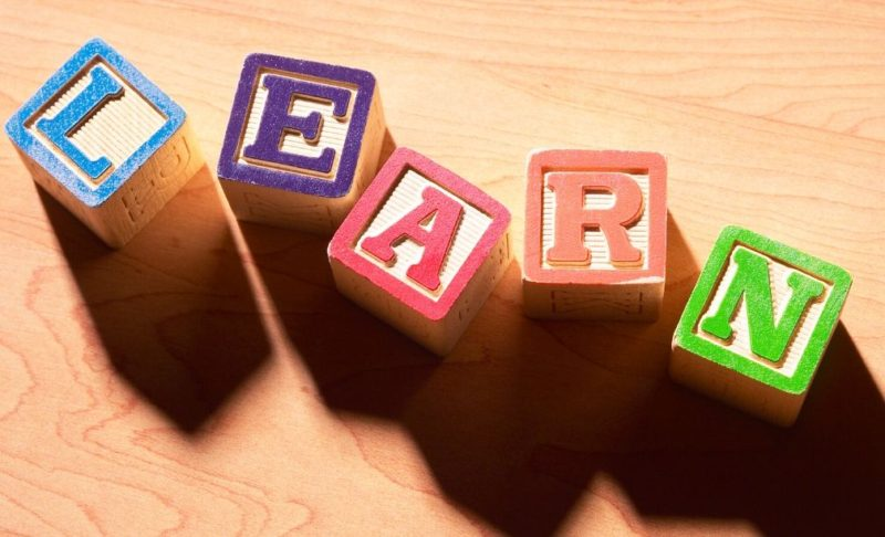 Learn spelled out with wooden blocks